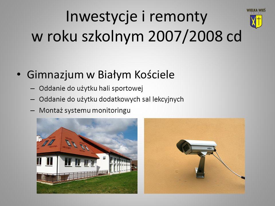 Inwestycje i remonty w roku szkolnym 2007/2008 cd Gimnazjum w Białym Kościele – Oddanie do użytku hali sportowej – Oddanie do użytku dodatkowych sal lekcyjnych – Montaż systemu monitoringu