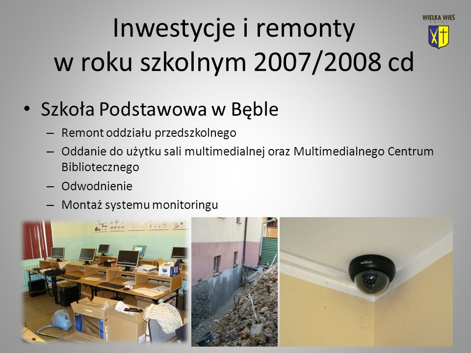 Inwestycje i remonty w roku szkolnym 2007/2008 cd Szkoła Podstawowa w Bęble – Remont oddziału przedszkolnego – Oddanie do użytku sali multimedialnej oraz Multimedialnego Centrum Bibliotecznego – Odwodnienie – Montaż systemu monitoringu