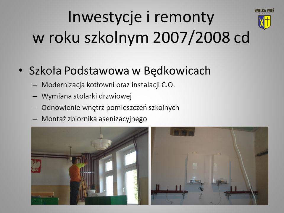 Inwestycje i remonty w roku szkolnym 2007/2008 cd Szkoła Podstawowa w Będkowicach – Modernizacja kotłowni oraz instalacji C.O.