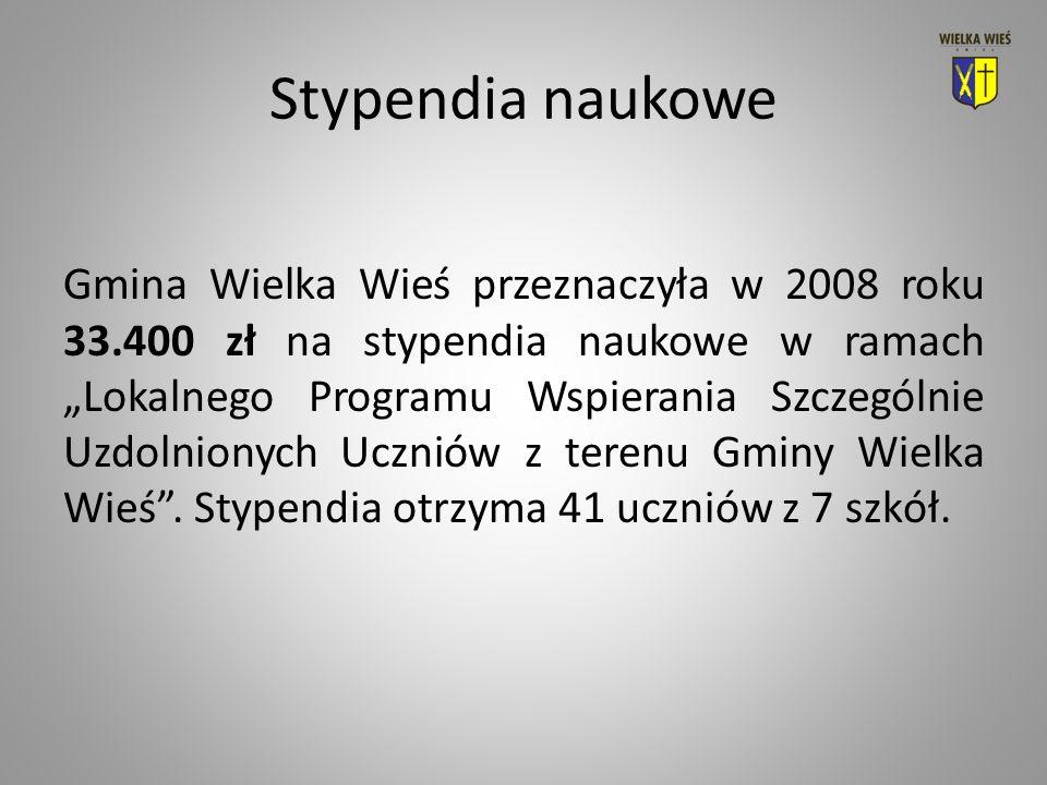 Stypendia naukowe Gmina Wielka Wieś przeznaczyła w 2008 roku 33.400 zł na stypendia naukowe w ramach Lokalnego Programu Wspierania Szczególnie Uzdolnionych Uczniów z terenu Gminy Wielka Wieś.