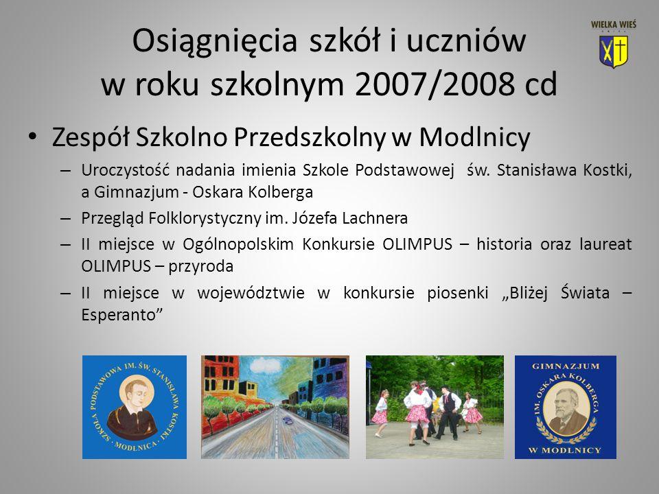 Osiągnięcia szkół i uczniów w roku szkolnym 2007/2008 cd Zespół Szkolno Przedszkolny w Modlnicy – Uroczystość nadania imienia Szkole Podstawowej św.