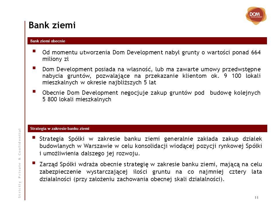 S t r i c t l y P r i v a t e & C o n f i d e n t i a l 11 Bank ziemi Strategia Spółki w zakresie banku ziemi generalnie zakłada zakup działek budowlanych w Warszawie w celu konsolidacji wiodącej pozycji rynkowej Spółki i umożliwienia dalszego jej rozwoju.