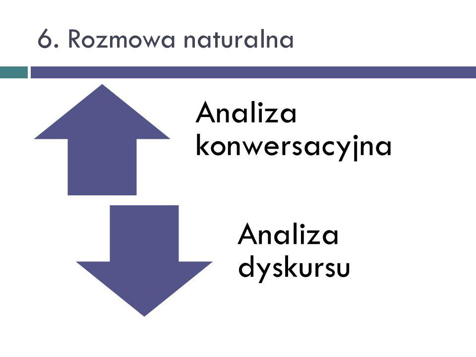 6. Rozmowa naturalna Analiza konwersacyjna Analiza dyskursu