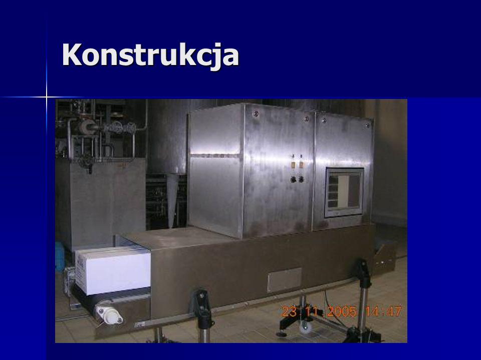Składowe systemu System detekcji składa się z: tunelu ze stali nierdzewnej wyłożonego płytami ołowianymi tunelu ze stali nierdzewnej wyłożonego płytami ołowianymi szafki sterowniczej szafki sterowniczej szafki ze źródłem promieniowania wyłożonej płytami ołowianymi szafki ze źródłem promieniowania wyłożonej płytami ołowianymi taśmociągu ( wyłożonego z boku i od spodu płytami ołowianymi) z szufladą z kamerą liniową taśmociągu ( wyłożonego z boku i od spodu płytami ołowianymi) z szufladą z kamerą liniową systemu sterowania systemu sterowania monitora 15 dotykowego monitora 15 dotykowego systemu komputerowego z dwoma trybami pracy: systemu komputerowego z dwoma trybami pracy: –produkcja – tryb pracy w czasie produkcji –analiza –tryb pracy do analizy odrzuconych produktów (opcja)