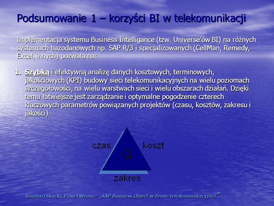 Podsumowanie 1 – korzyści BI w telekomunikacji 1.Szybką i efektywną analizę danych kosztowych, terminowych, jakościowych (KPI) budowy sieci telekomuni