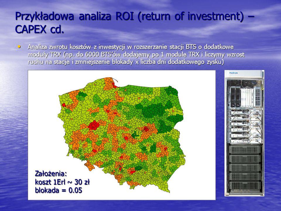 Przykładowa analiza ROI (return of investment) – CAPEX cd. Analiza zwrotu kosztów z inwestycji w rozszerzanie stacji BTS o dodatkowe moduły TRX (np. d