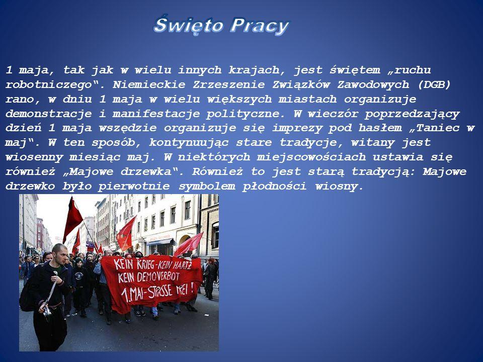 1 maja, tak jak w wielu innych krajach, jest świętem ruchu robotniczego. Niemieckie Zrzeszenie Związków Zawodowych (DGB) rano, w dniu 1 maja w wielu w