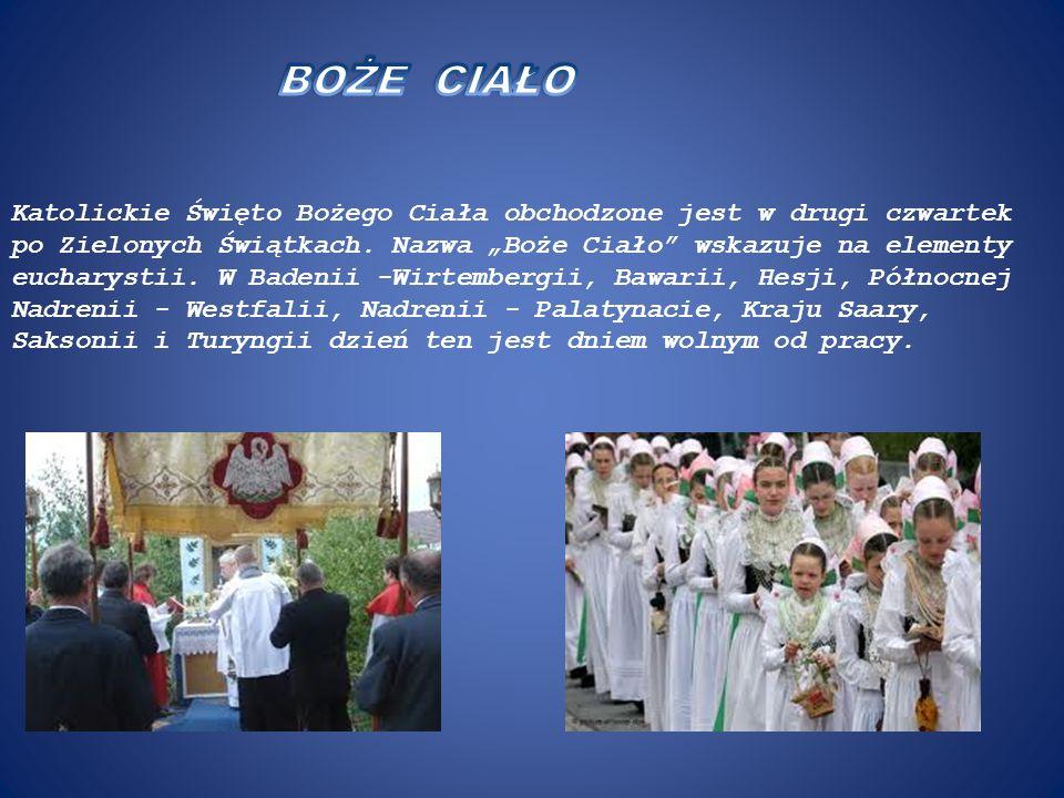 Katolickie Święto Bożego Ciała obchodzone jest w drugi czwartek po Zielonych Świątkach. Nazwa Boże Ciało wskazuje na elementy eucharystii. W Badenii -