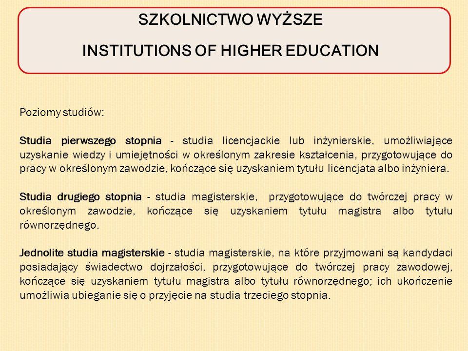 SZKOLNICTWO WYŻSZE INSTITUTIONS OF HIGHER EDUCATION Poziomy studiów: Studia pierwszego stopnia - studia licencjackie lub inżynierskie, umożliwiające uzyskanie wiedzy i umiejętności w określonym zakresie kształcenia, przygotowujące do pracy w określonym zawodzie, kończące się uzyskaniem tytułu licencjata albo inżyniera.