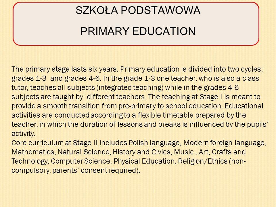 SKALA OCEN GRADING SYSTEM W klasach I –III szkoły podstawowej obowiązuje ocena opisowa.