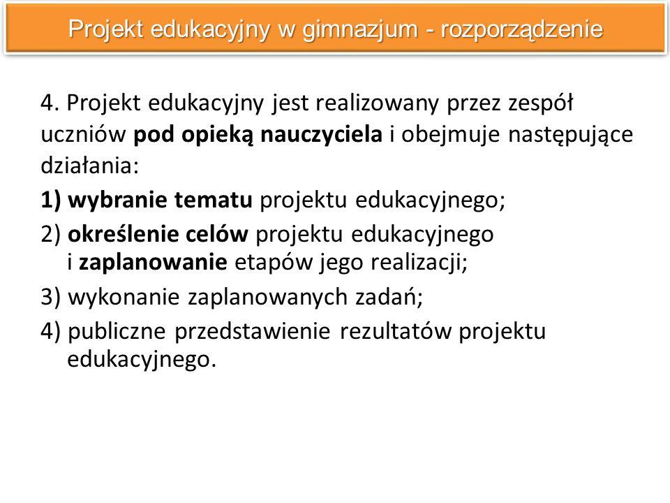 4. Projekt edukacyjny jest realizowany przez zespół uczniów pod opieką nauczyciela i obejmuje następujące działania: 1) wybranie tematu projektu eduka