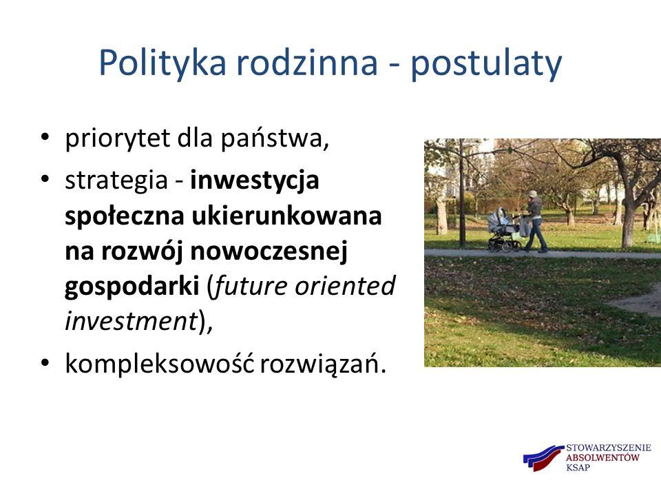 Polityka rodzinna - postulaty priorytet dla państwa, strategia - inwestycja społeczna ukierunkowana na rozwój nowoczesnej gospodarki (future oriented investment), kompleksowość rozwiązań.