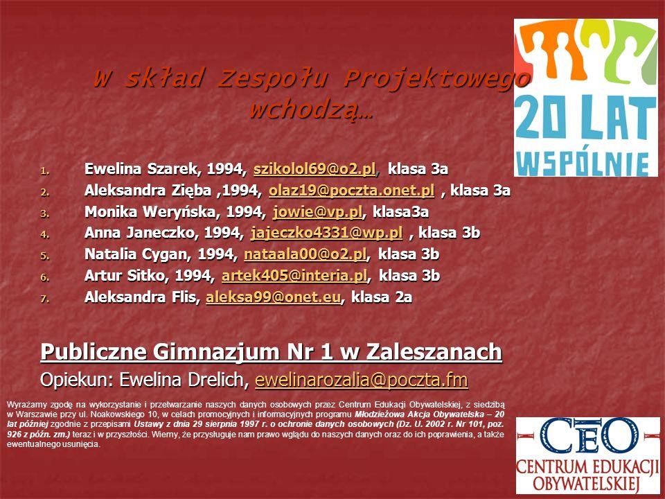 1. Ewelina Szarek, 1994, szikolol69@o2.pl, klasa 3a szikolol69@o2.pl 2. Aleksandra Zięba,1994, olaz19@poczta.onet.pl, klasa 3a olaz19@poczta.onet.pl 3