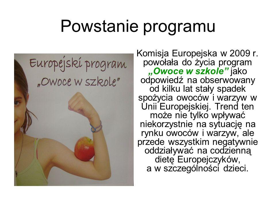 Powstanie programu Komisja Europejska w 2009 r. powołała do życia program Owoce w szkole jako odpowiedź na obserwowany od kilku lat stały spadek spoży