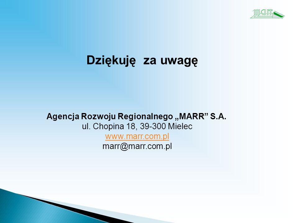 Dziękuję za uwagę Agencja Rozwoju Regionalnego MARR S.A.