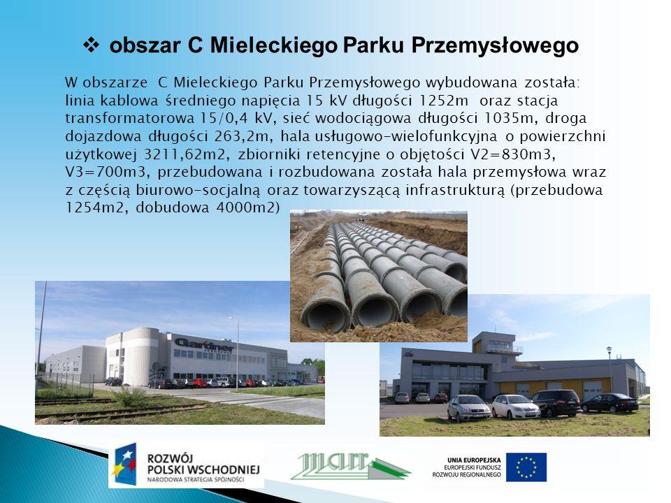 obszar C Mieleckiego Parku Przemysłowego W obszarze C Mieleckiego Parku Przemysłowego wybudowana została: linia kablowa średniego napięcia 15 kV długości 1252m oraz stacja transformatorowa 15/0,4 kV, sieć wodociągowa długości 1035m, droga dojazdowa długości 263,2m, hala usługowo-wielofunkcyjna o powierzchni użytkowej 3211,62m2, zbiorniki retencyjne o objętości V2=830m3, V3=700m3, przebudowana i rozbudowana została hala przemysłowa wraz z częścią biurowo-socjalną oraz towarzyszącą infrastrukturą (przebudowa 1254m2, dobudowa 4000m2)