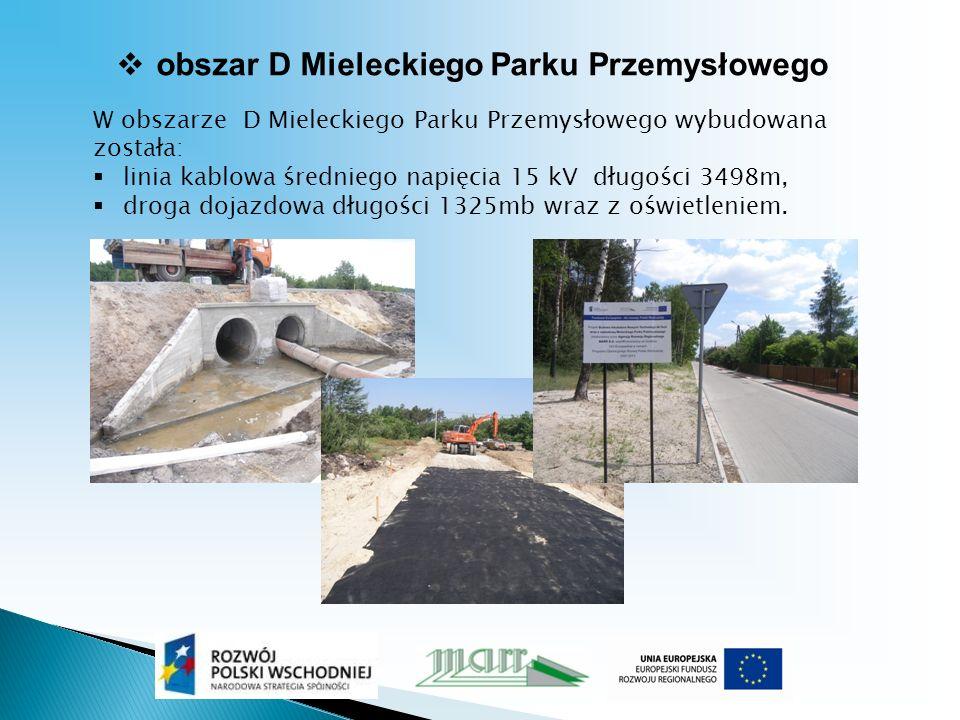 obszar D Mieleckiego Parku Przemysłowego W obszarze D Mieleckiego Parku Przemysłowego wybudowana została: linia kablowa średniego napięcia 15 kV długości 3498m, droga dojazdowa długości 1325mb wraz z oświetleniem.