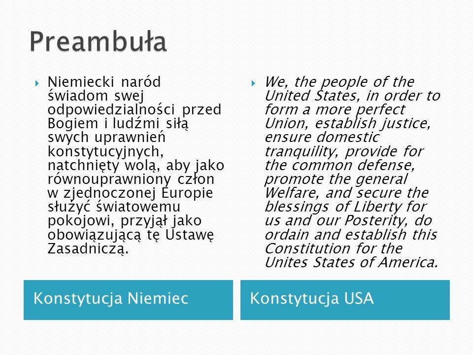 Konstytucja NiemiecKonstytucja USA Niemiecki naród świadom swej odpowiedzialności przed Bogiem i ludźmi siłą swych uprawnień konstytucyjnych, natchnię