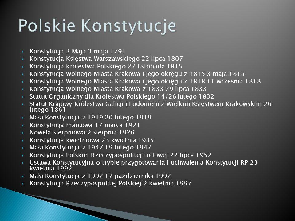 Konstytucja 3 Maja 3 maja 1791 Konstytucja Księstwa Warszawskiego 22 lipca 1807 Konstytucja Królestwa Polskiego 27 listopada 1815 Konstytucja Wolnego