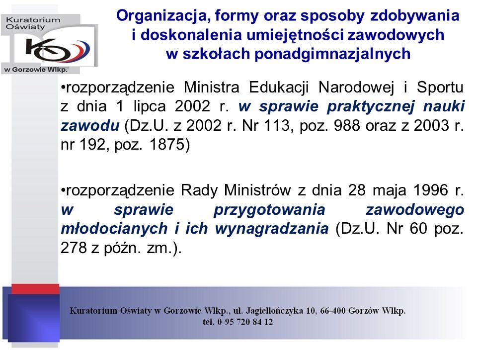 Organizacja, formy oraz sposoby zdobywania i doskonalenia umiejętności zawodowych w szkołach ponadgimnazjalnych rozporządzenie Ministra Edukacji Narodowej i Sportu z dnia 1 lipca 2002 r.