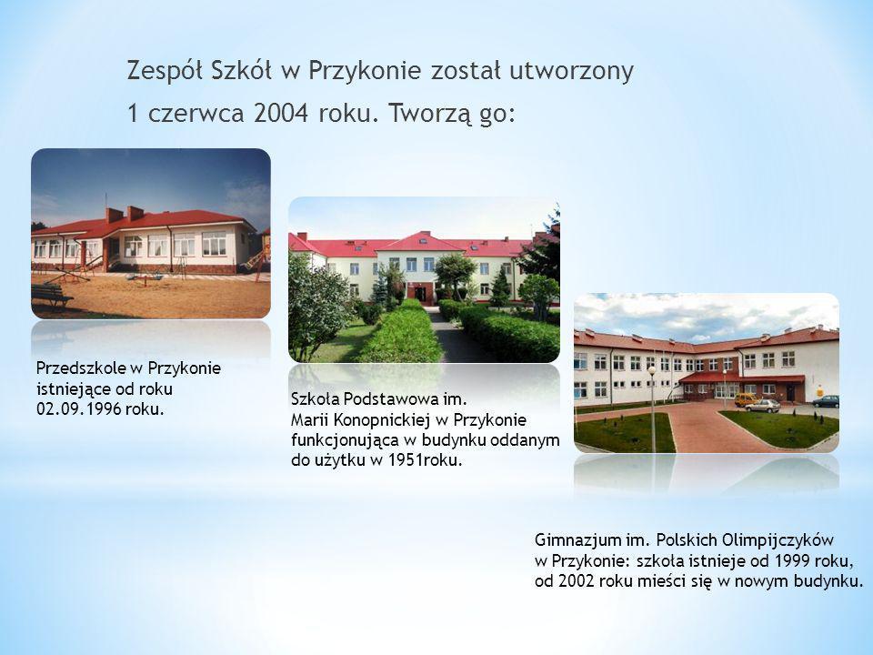 Zespół Szkół w Przykonie został utworzony 1 czerwca 2004 roku. Tworzą go: Przedszkole w Przykonie istniejące od roku 02.09.1996 roku. Szkoła Podstawow
