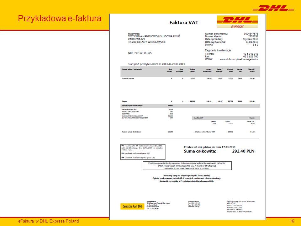 eFaktura w DHL Express Poland Przykładowa e-faktura 16