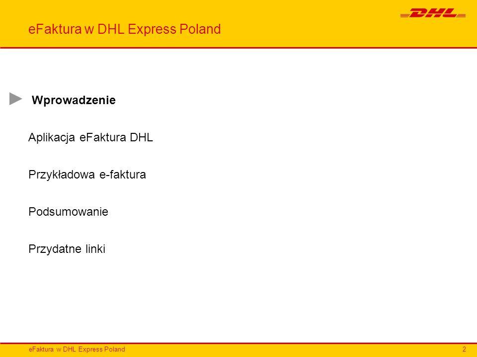 Wprowadzenie Aplikacja eFaktura DHL Przykładowa e-faktura Podsumowanie Przydatne linki 2
