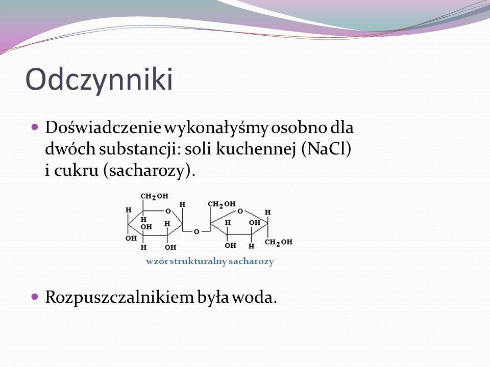 Odczynniki Doświadczenie wykonałyśmy osobno dla dwóch substancji: soli kuchennej (NaCl) i cukru (sacharozy). Rozpuszczalnikiem była woda. wzór struktu