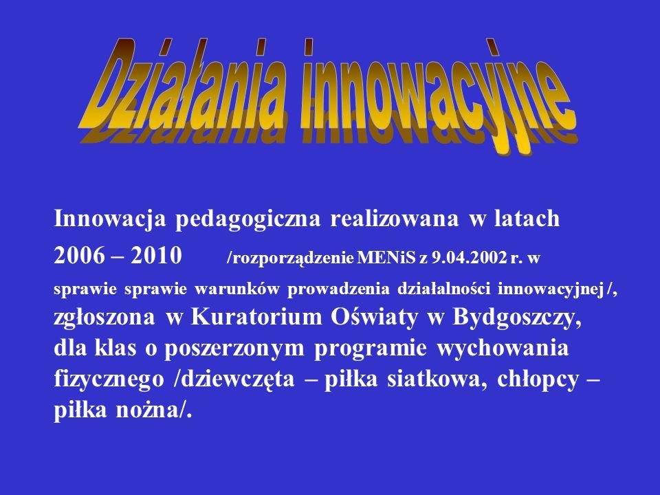 Innowacja pedagogiczna realizowana w latach 2006 – 2010 /rozporządzenie MENiS z 9.04.2002 r.