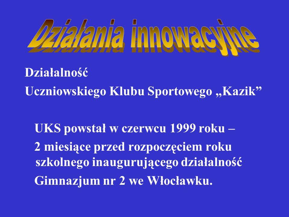 Działalność Uczniowskiego Klubu Sportowego Kazik UKS powstał w czerwcu 1999 roku – 2 miesiące przed rozpoczęciem roku szkolnego inaugurującego działalność Gimnazjum nr 2 we Włocławku.