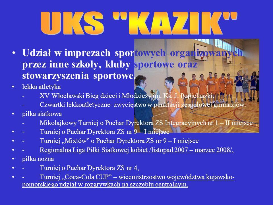 Udział w imprezach sportowych organizowanych przez inne szkoły, kluby sportowe oraz stowarzyszenia sportowe.