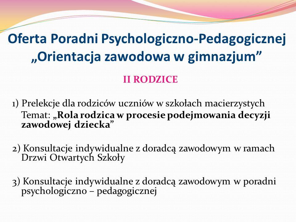 Oferta Poradni Psychologiczno-Pedagogicznej Orientacja zawodowa w gimnazjum II RODZICE 1) Prelekcje dla rodziców uczniów w szkołach macierzystych Tema