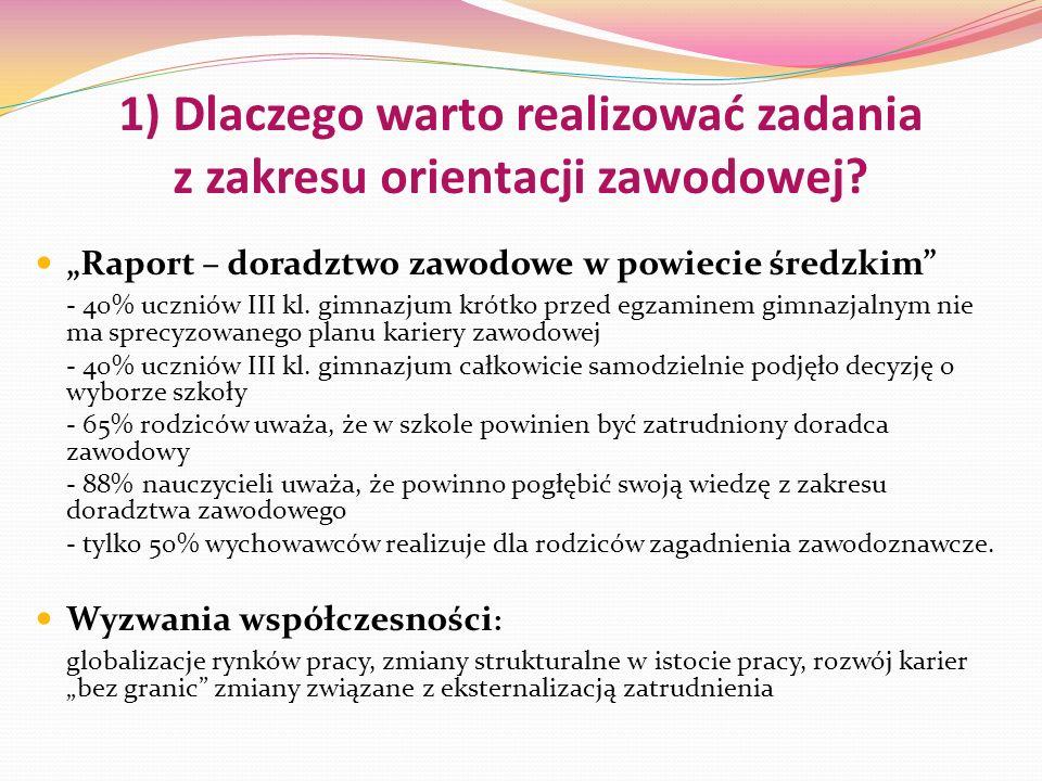 1) Dlaczego warto realizować zadania z zakresu orientacji zawodowej? Raport – doradztwo zawodowe w powiecie średzkim - 40% uczniów III kl. gimnazjum k