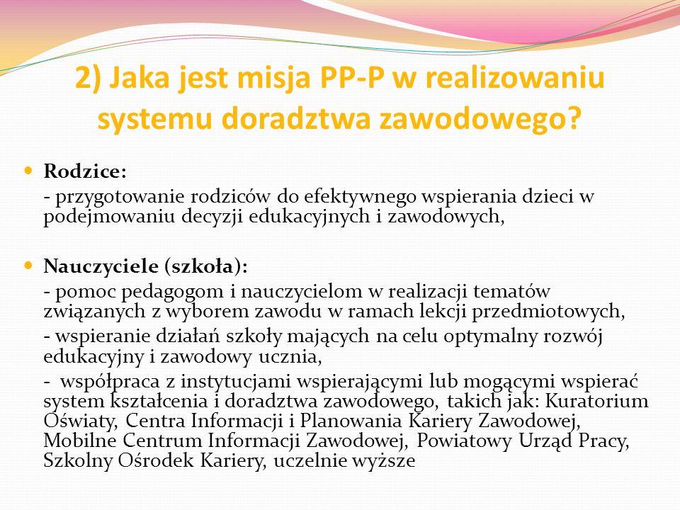 2) Jaka jest misja PP-P w realizowaniu systemu doradztwa zawodowego? Rodzice: - przygotowanie rodziców do efektywnego wspierania dzieci w podejmowaniu