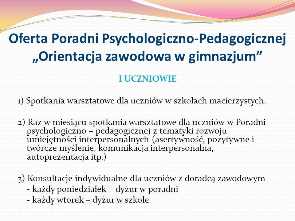 Oferta Poradni Psychologiczno-Pedagogicznej Orientacja zawodowa w gimnazjum I UCZNIOWIE 1) Spotkania warsztatowe dla uczniów w szkołach macierzystych.