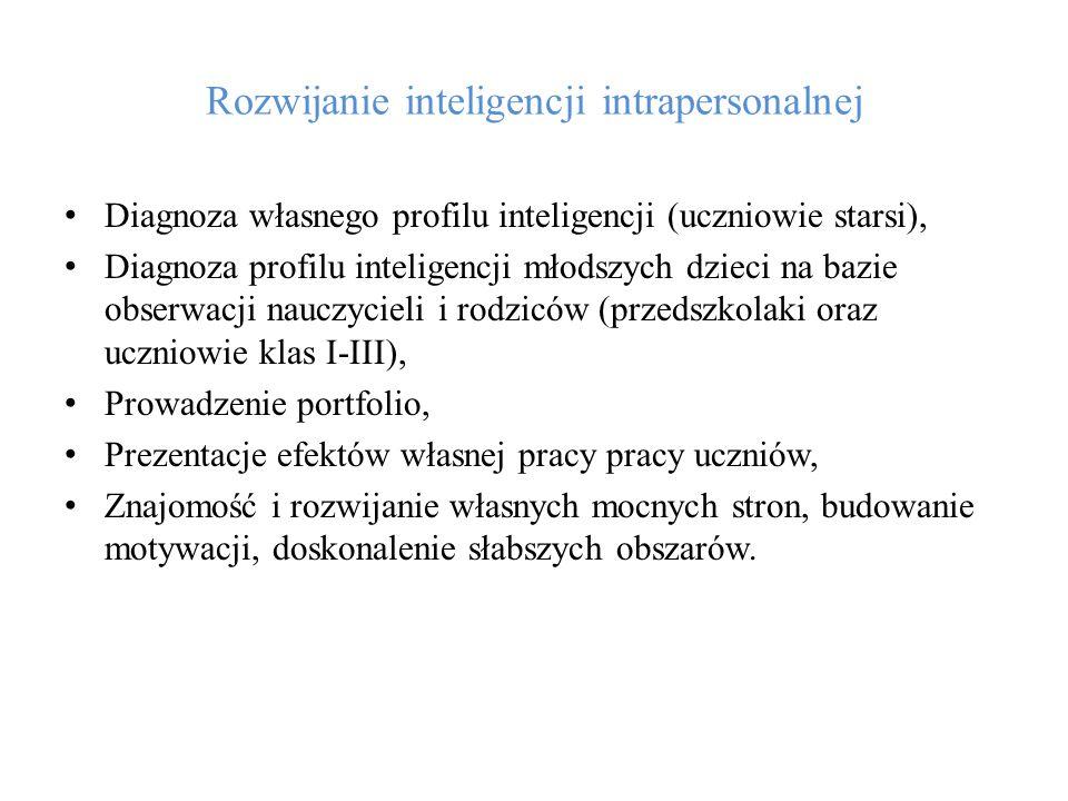 Rozwijanie inteligencji intrapersonalnej Diagnoza własnego profilu inteligencji (uczniowie starsi), Diagnoza profilu inteligencji młodszych dzieci na
