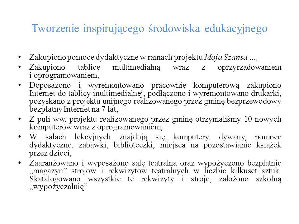 Tworzenie inspirującego środowiska edukacyjnego Zakupiono pomoce dydaktyczne w ramach projektu Moja Szansa …, Zakupiono tablicę multimedialną wraz z o