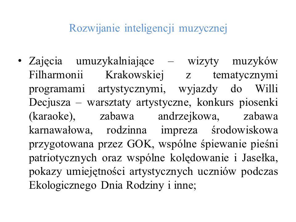Rozwijanie inteligencji muzycznej Zajęcia umuzykalniające – wizyty muzyków Filharmonii Krakowskiej z tematycznymi programami artystycznymi, wyjazdy do