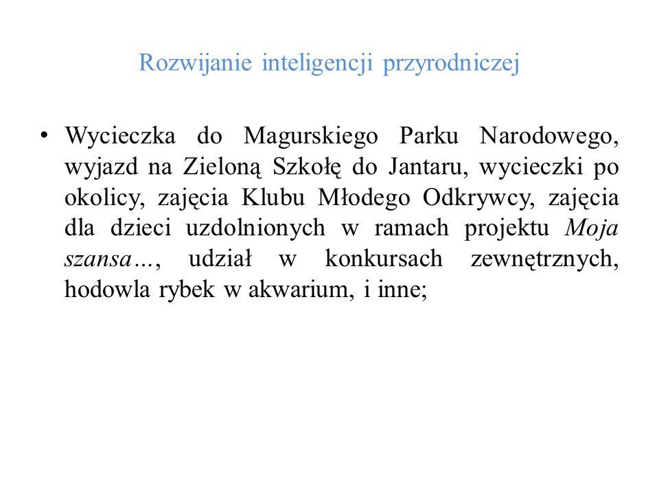 Rozwijanie inteligencji przyrodniczej Wycieczka do Magurskiego Parku Narodowego, wyjazd na Zieloną Szkołę do Jantaru, wycieczki po okolicy, zajęcia Kl