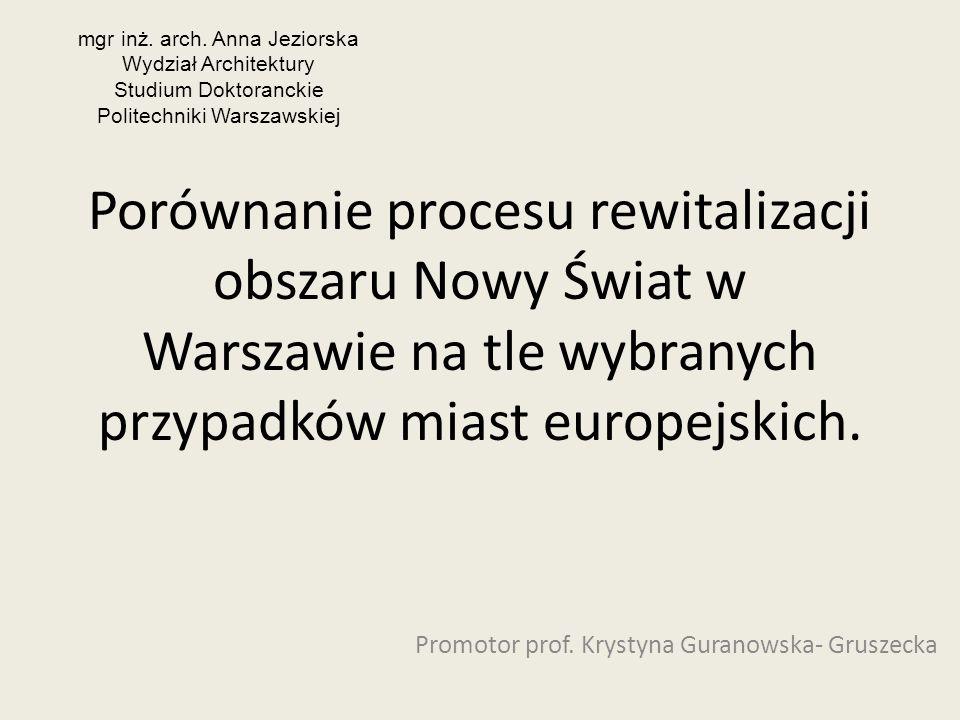 Porównanie procesu rewitalizacji obszaru Nowy Świat w Warszawie na tle wybranych przypadków miast europejskich. Promotor prof. Krystyna Guranowska- Gr