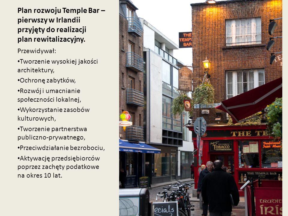 Plan rozwoju Temple Bar – pierwszy w Irlandii przyjęty do realizacji plan rewitalizacyjny. Przewidywał: Tworzenie wysokiej jakości architektury, Ochro