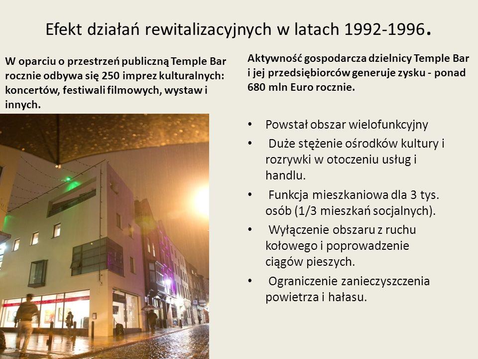 Efekt działań rewitalizacyjnych w latach 1992-1996. W oparciu o przestrzeń publiczną Temple Bar rocznie odbywa się 250 imprez kulturalnych: koncertów,