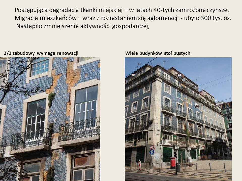 Postępująca degradacja tkanki miejskiej – w latach 40-tych zamrożone czynsze, Migracja mieszkańców – wraz z rozrastaniem się aglomeracji - ubyło 300 t