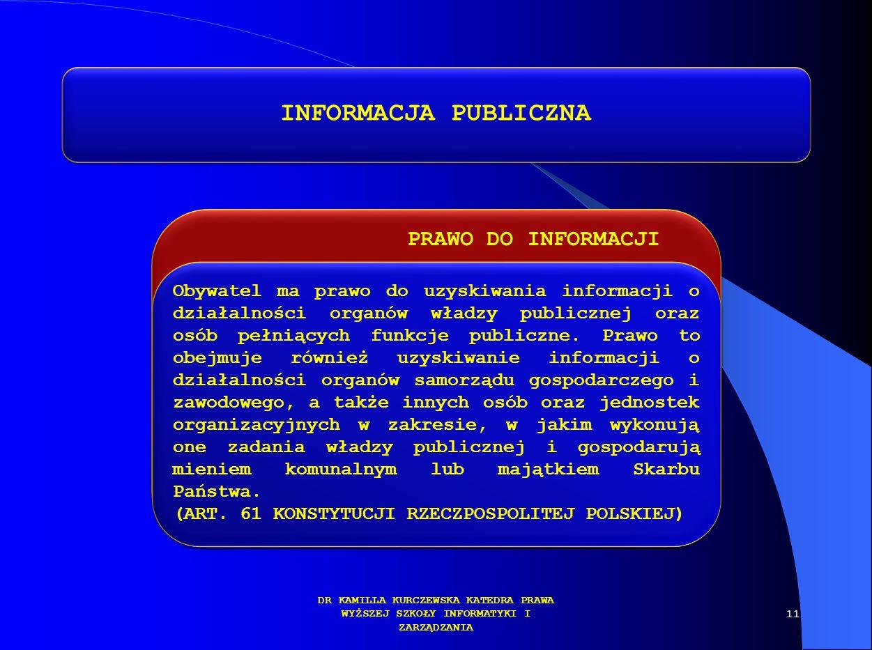 PRAWO DO INFORMACJI DR KAMILLA KURCZEWSKA KATEDRA PRAWA WYŻSZEJ SZKOŁY INFORMATYKI I ZARZĄDZANIA INFORMACJA PUBLICZNA Obywatel ma prawo do uzyskiwania