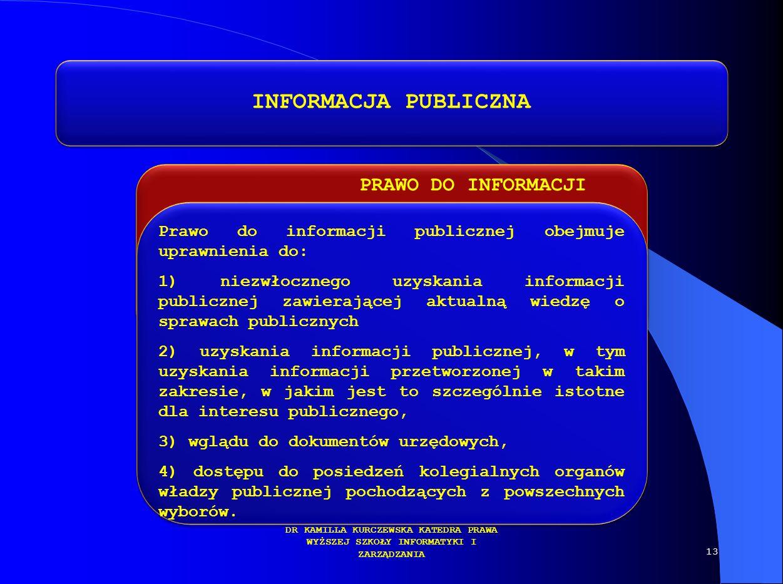 PRAWO DO INFORMACJI DR KAMILLA KURCZEWSKA KATEDRA PRAWA WYŻSZEJ SZKOŁY INFORMATYKI I ZARZĄDZANIA INFORMACJA PUBLICZNA Prawo do informacji publicznej o
