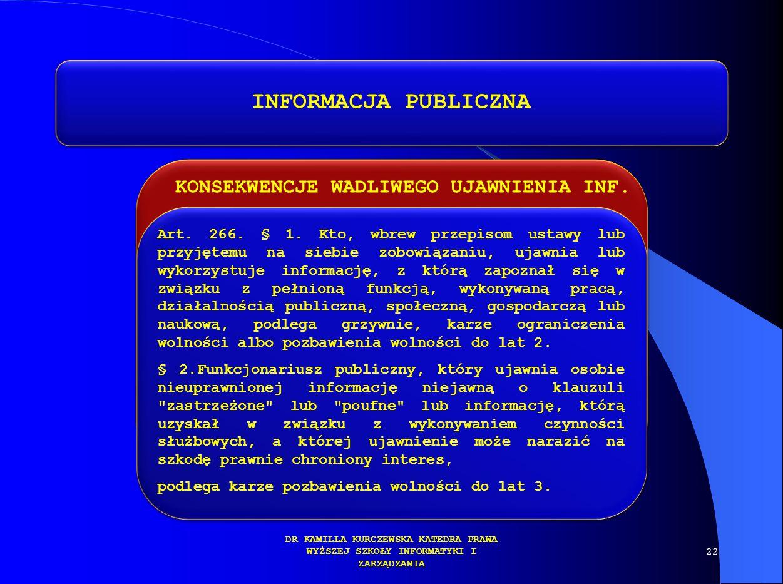 KONSEKWENCJE WADLIWEGO UJAWNIENIA INF. DR KAMILLA KURCZEWSKA KATEDRA PRAWA WYŻSZEJ SZKOŁY INFORMATYKI I ZARZĄDZANIA INFORMACJA PUBLICZNA Art. 266. § 1