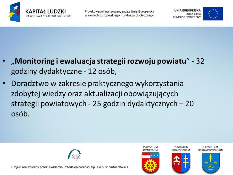Monitoring i ewaluacja strategii rozwoju powiatu - 32 godziny dydaktyczne - 12 osób, Doradztwo w zakresie praktycznego wykorzystania zdobytej wiedzy oraz aktualizacji obowiązujących strategii powiatowych - 25 godzin dydaktycznych – 20 osób.