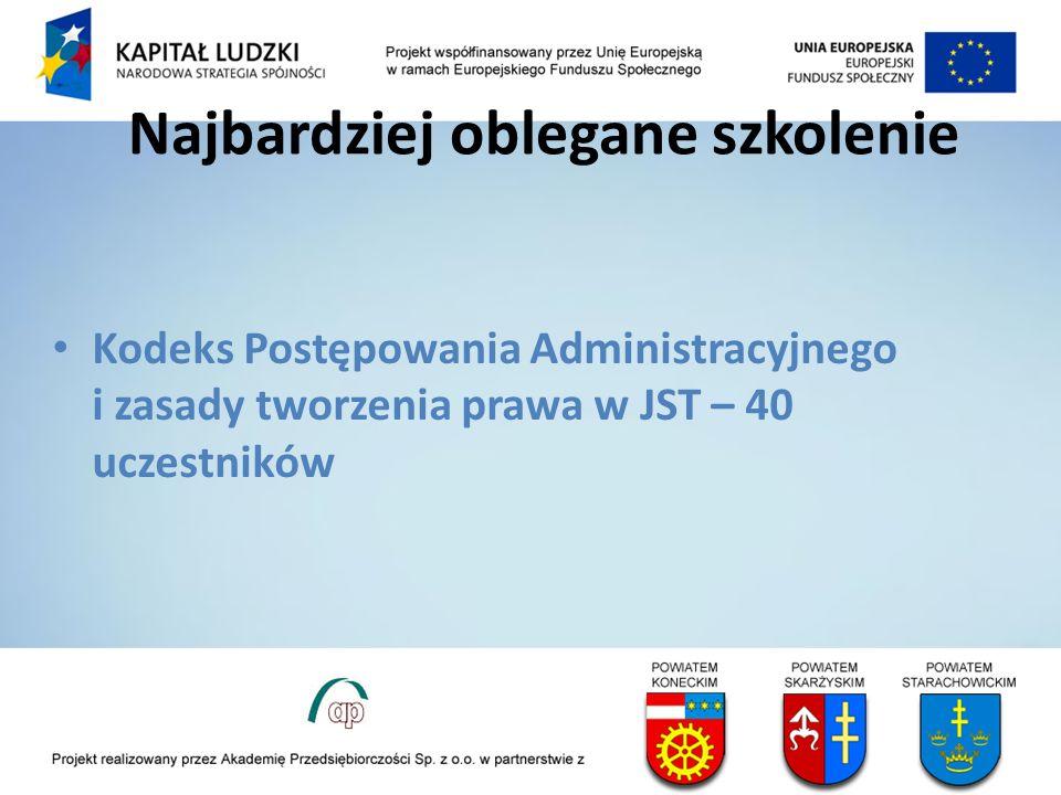 Najbardziej oblegane szkolenie Kodeks Postępowania Administracyjnego i zasady tworzenia prawa w JST – 40 uczestników