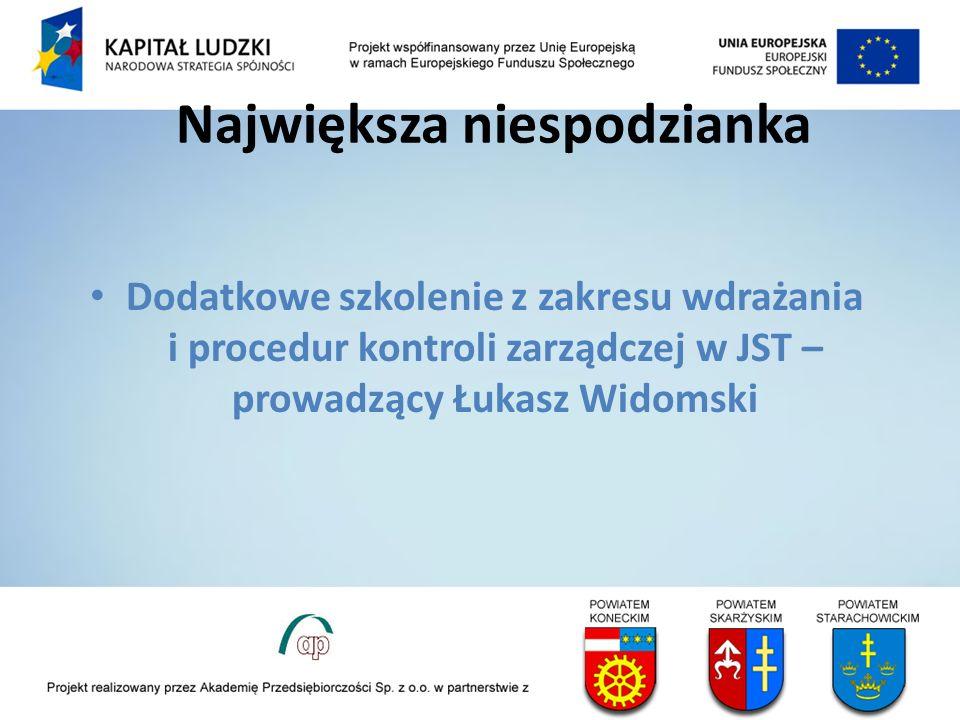 Największa niespodzianka Dodatkowe szkolenie z zakresu wdrażania i procedur kontroli zarządczej w JST – prowadzący Łukasz Widomski