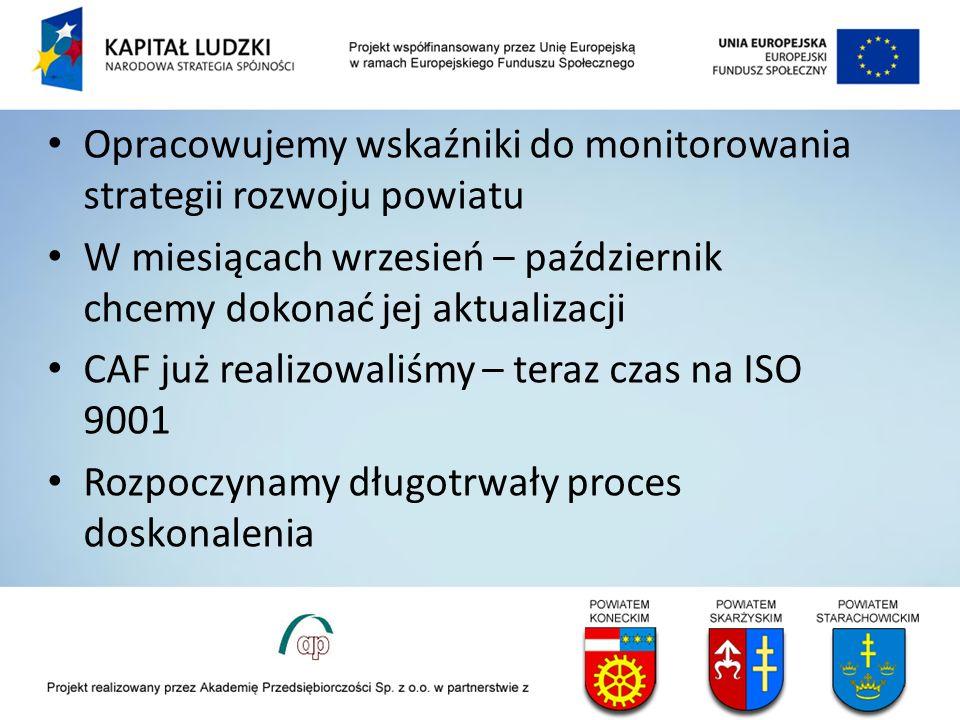 Opracowujemy wskaźniki do monitorowania strategii rozwoju powiatu W miesiącach wrzesień – październik chcemy dokonać jej aktualizacji CAF już realizowaliśmy – teraz czas na ISO 9001 Rozpoczynamy długotrwały proces doskonalenia